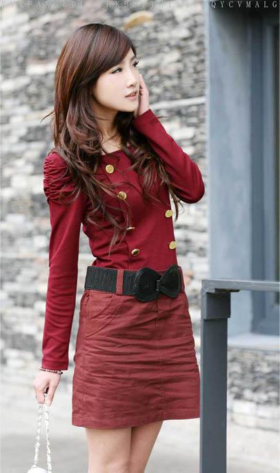 韩版时尚连衣裙(枣红色)-裙子-温岭博誉服装专卖店